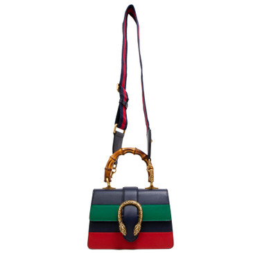 Gucci Navy Calfskin Mini Dionysus Bamboo Top Handle Bag
