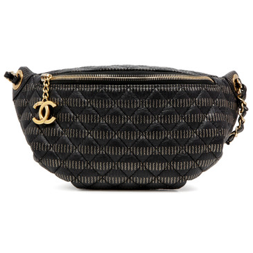 Chanel Black/Gold Caviar Quilted Waist Bag