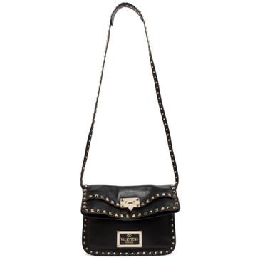 Valentino Black Nappa Rockstud Foldover Convertible Bag