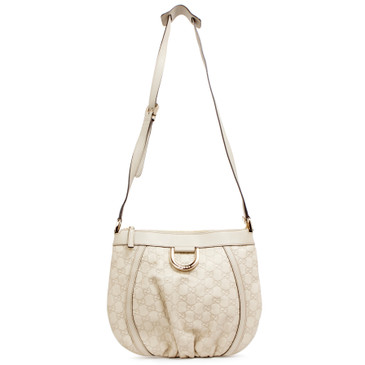 Gucci Ivory Guccissima Small D Ring Messenger Bag