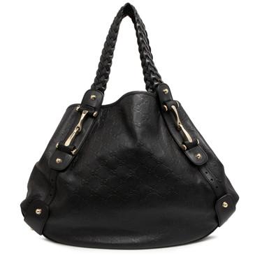 Gucci Black Guccissima Medium Pelham Shoulder Bag