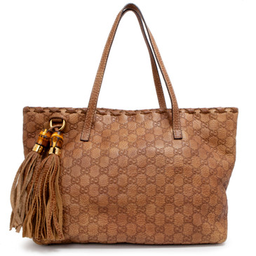 Gucci Brown Guccissima Leather Bamboo Tassel Tote