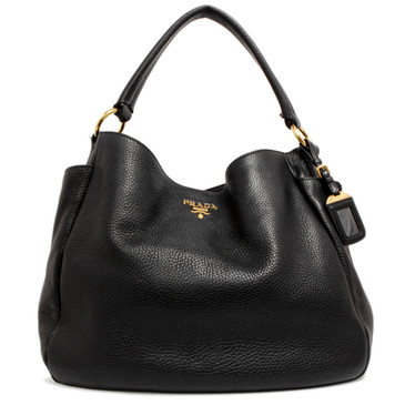 Prada Black Vitello Daino Side Pocket Zip Hobo