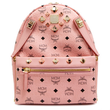 MCM Soft Pink Visetos Canvas Studded Small Dual Stark Backpack