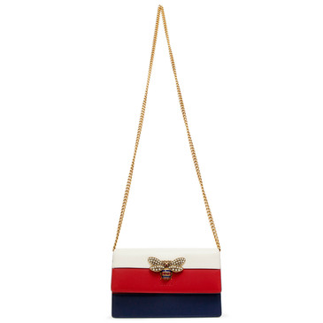 Gucci White/Red/Blue Calfskin Mini Queen Margaret Bag