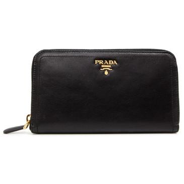 Prada Black Soft Calf Zip Around Wallet