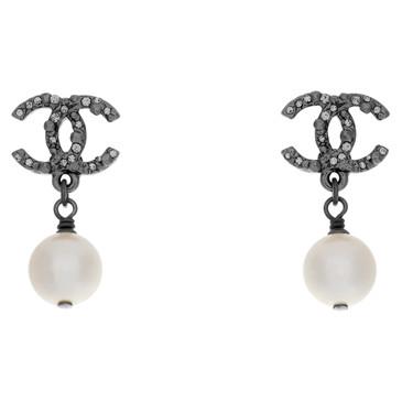 Chanel Crystal & Pearl Drop Earrings