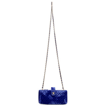 Chanel Blue Velvet Quilted Small Clutch With Chain
