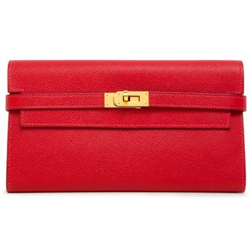 Hermes Rouge Casaque Epsom Kelly Longue Wallet