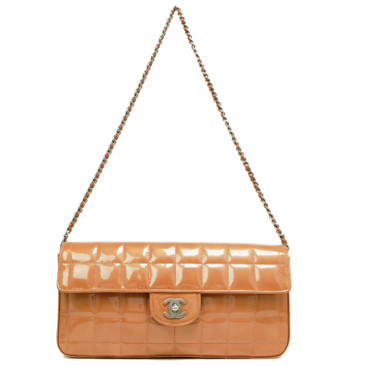 Chanel Orange Patent East West Chocolate Bar Flap