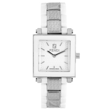 Fendi White Ceramic & Stainless Steel Quartz Ladies Quadro Watch