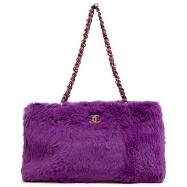 Chanel Purple Rabbit Fur Chain Tote
