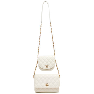 Chanel White Lambskin Quilted Side Packs Shoulder Bag