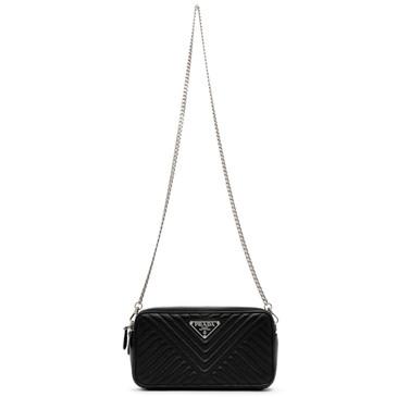 Prada Black Soft Calfskin Diagramme Mini Bag