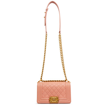 Chanel Pink Quilted Caviar Small Boy Bag