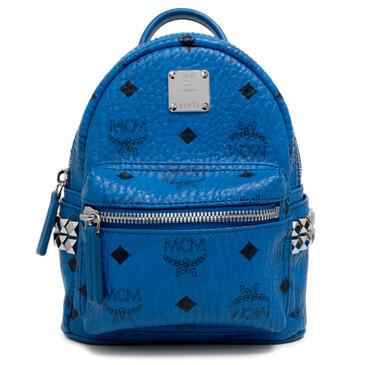 MCM Blue Visetos Canvas Side Studs X-Mini Stark Backpack