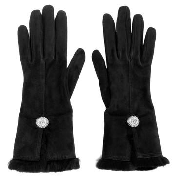 Chanel Black Lambskin Suede Gloves