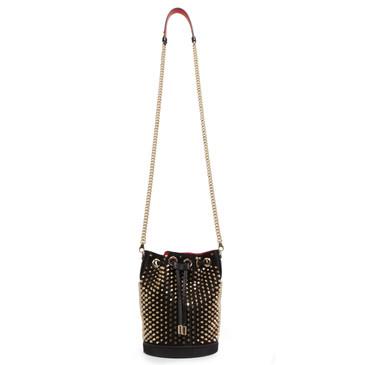 Christian Louboutin Black Satin and Calfskin Marie Jane Studded Loubirun Bucket Bag