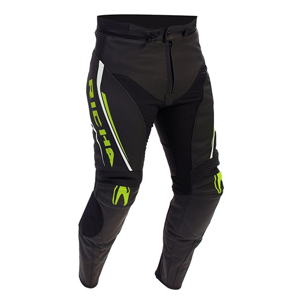 Richa Monza Leather Trousers - Black / Fluo Yellow