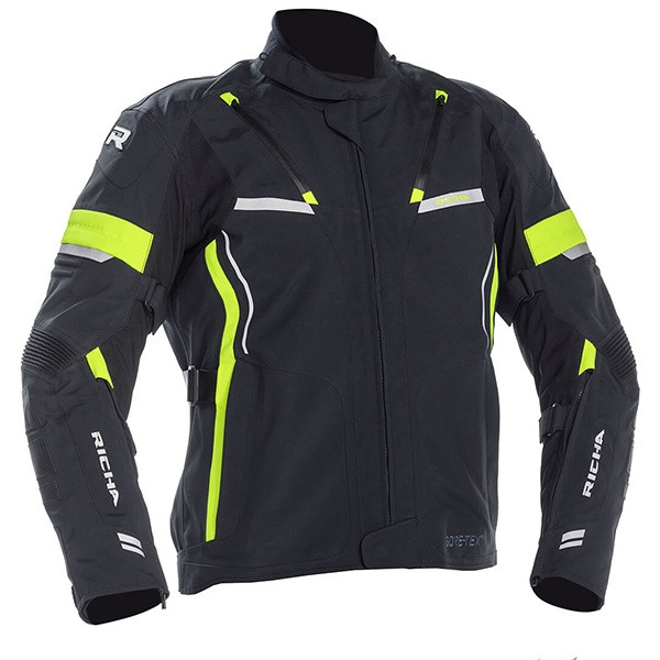 Richa Arc Laminated Goretex Men's Textile Jacket - Black / Fluo Yellow