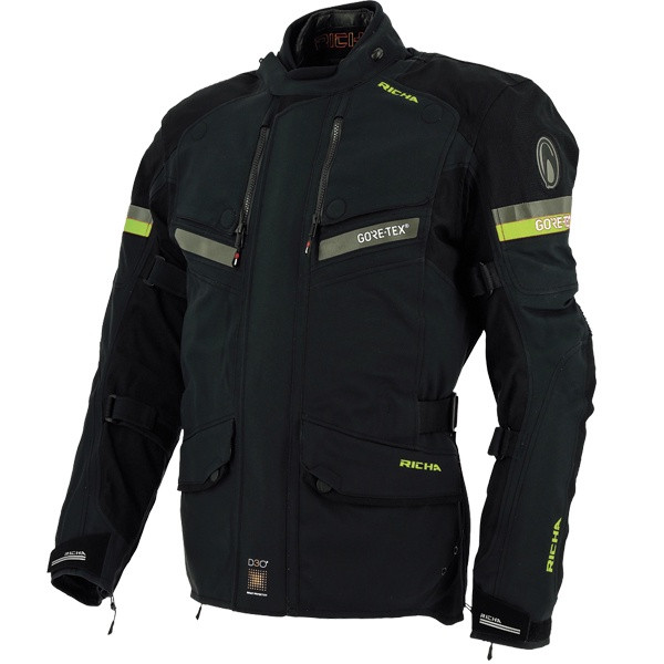 Richa Atlantic Laminated Goretex Men's Jacket - Black / Fluo Yellow