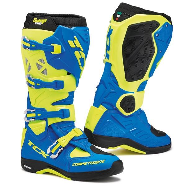 TCX Comp Evo Michelin Motocross Boots - Blue / Yellow