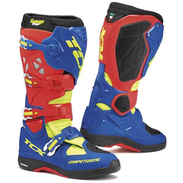 TCX Comp Evo 2 Michelin Motocross Boots - Red / Blue / Yellow