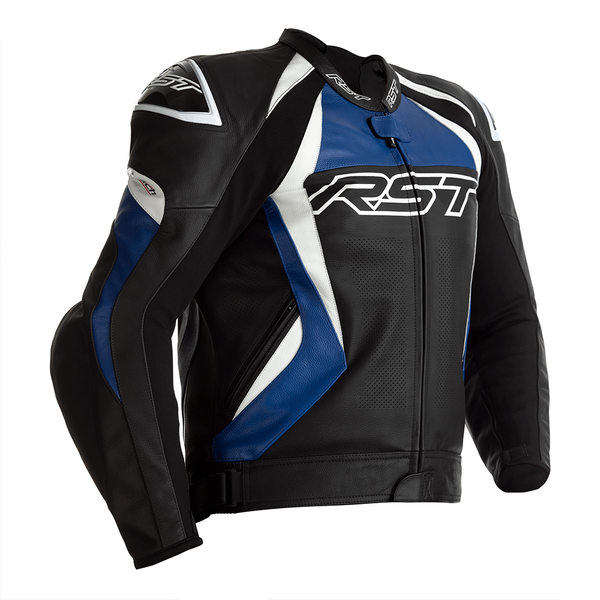 RST Tractech Evo 4 CE Mens Leather Jacket - Black / Blue