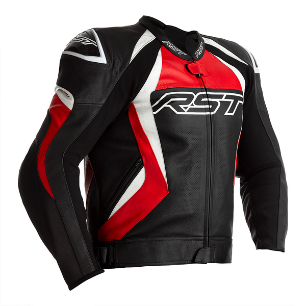 RST Tractech Evo 4 CE Mens Leather Jacket - Black / Red
