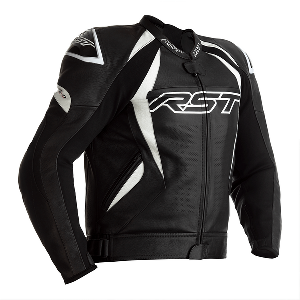 RST Tractech Evo 4 CE Mens Leather Jacket - Black / White