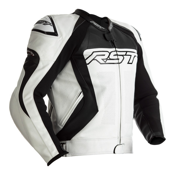 RST Tractech Evo 4 CE Mens Leather Jacket - White / Black