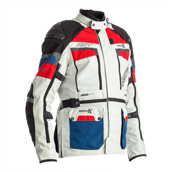 RST Pro Series Adventure-X CE Mens Textile Jacket - Ice / Blue / Red front