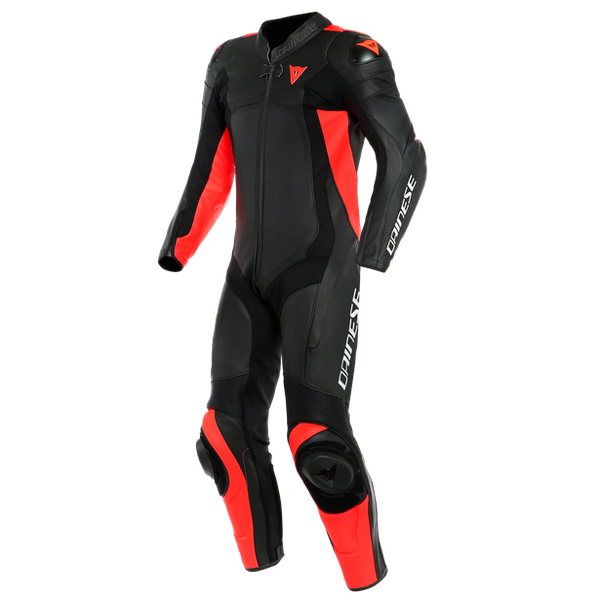 Dainese Assen 2 Perforated 1 Piece Leather Suit - Black / Fluo Red