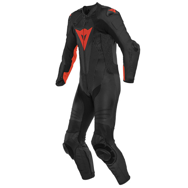 Dainese Laguna Seca 5 1 Perforated Piece Leather Suit - Black / Fluo Red