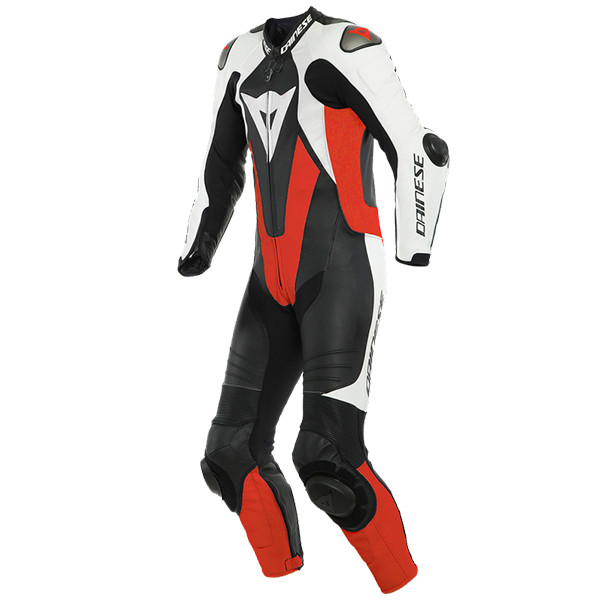Dainese Laguna Seca 5 1 Perforated Piece Leather Suit - Black / White / Fluo Red