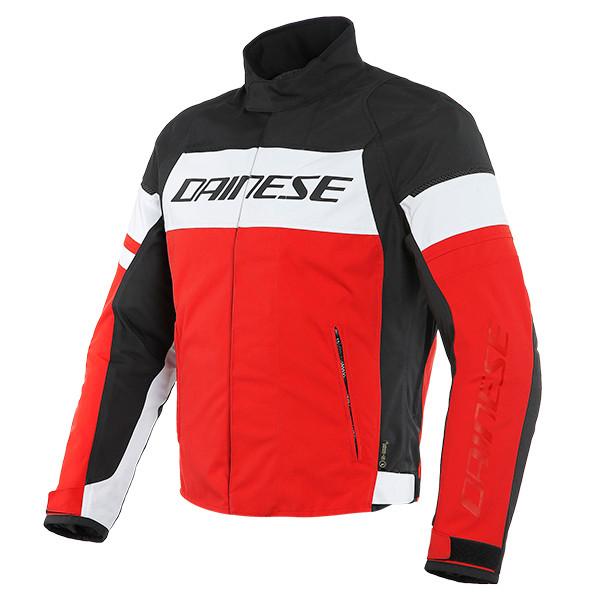 Dainese Saetta D-Dry Textile Jacket - White / Lava Red / Black