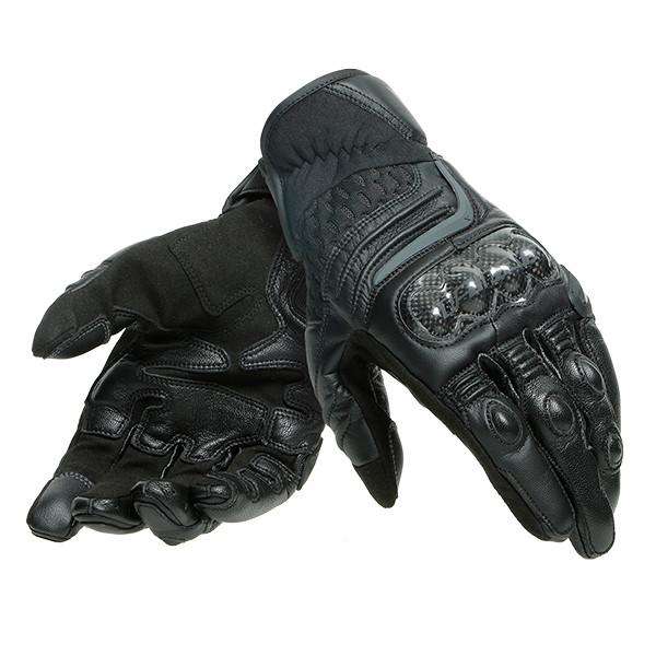 Dainese Carbon 3 Leather Short Gloves - Black / Black