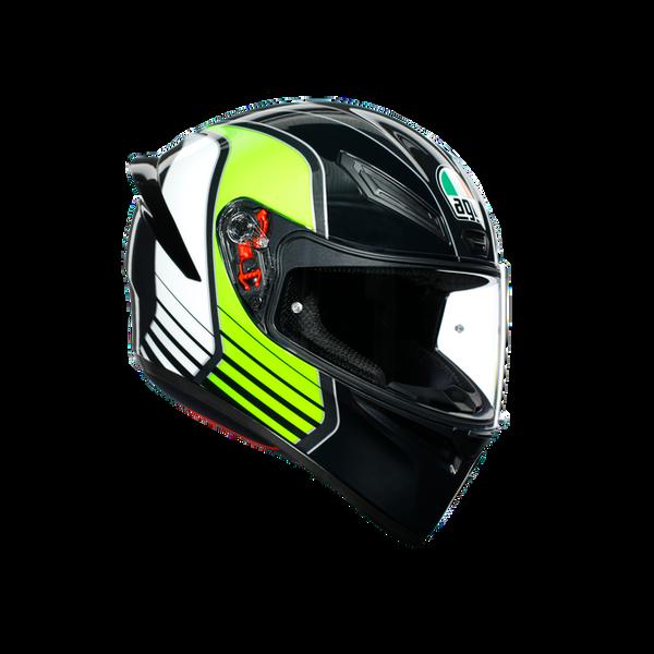 AGV K1 Full Face Helmet Power - Gunmetal / White / Green