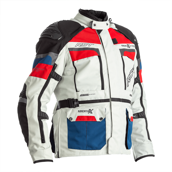 RST Pro Series Adventure X Airbag CE Mens Textile Jacket - Ice / Blue / Red