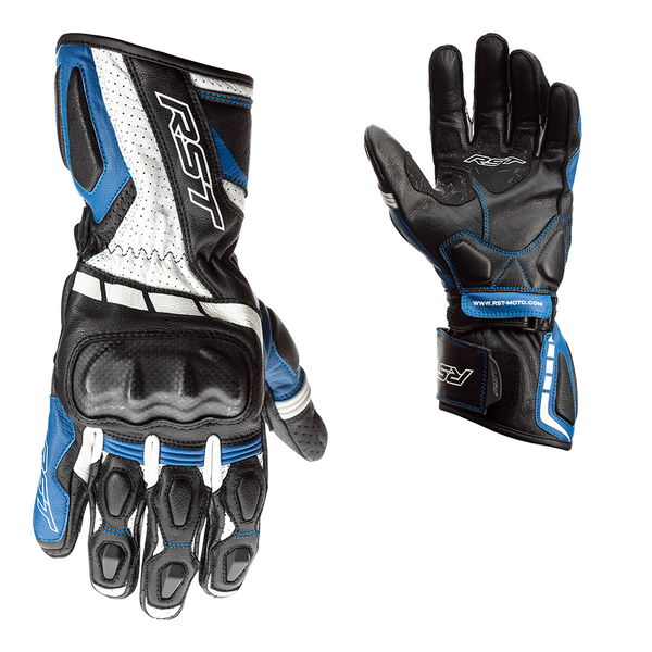 RST Axis CE Mens Leather Gloves - Black / Blue / White