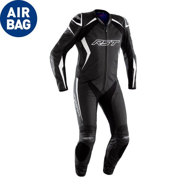 RST Podium Airbag CE Mens Leather Suit - Black / White