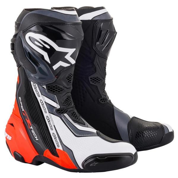Alpinestars Supertech R Race Boots - Black / Red Fluo / White / Grey