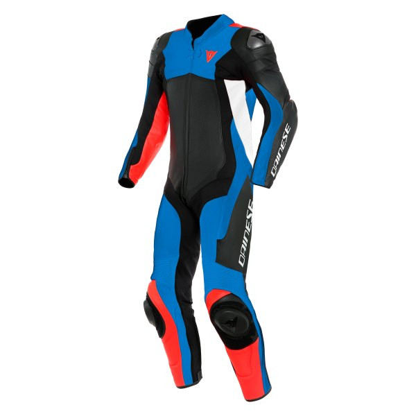 Dainese Assen 2 Perforated 1 Piece Leather Suit - Black / Blue / Fluo Red / White