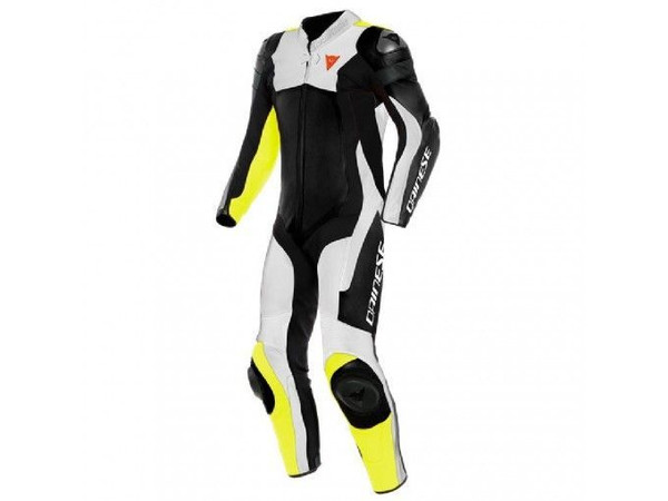 Dainese Assen 2 Perforated 1 Piece Leather Suit - Black / White / Yellow
