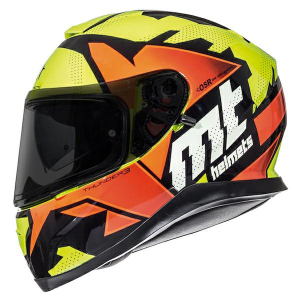 MT Thunder 3 SV Torn Full Face Helmet - Yellow / Orange