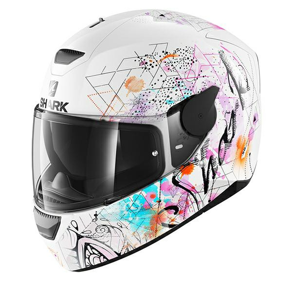 Shark D Skwal Anyah Full Face Helmet - White Pink Purple