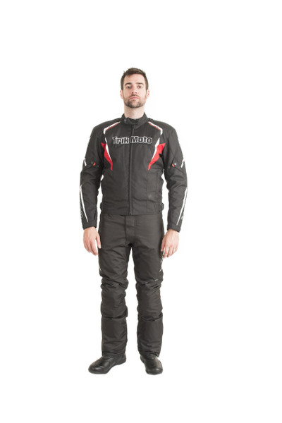 Trik Moto M115 Short Textile Waterproof Jacket - Black / Red