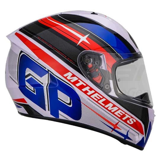 MT Stinger GP Full Face Helmet - White / Blue / Red
