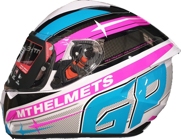 MT Stinger GP Full Face Helmet - White / Pink