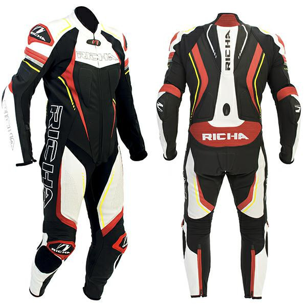 Richa Francorchamps 1 Piece Leather Suit - Black / Red / Fluro